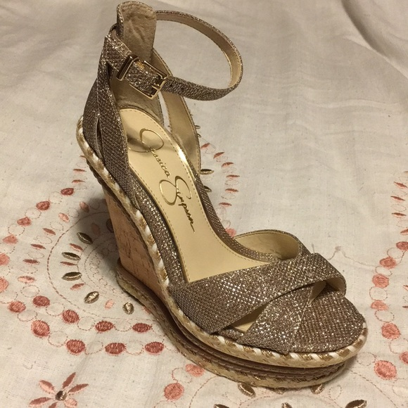 34908f3bd91 Jessica Simpson Shoes - Jessica Simpson Wedge Sandals Size 6.5M